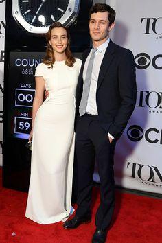Last night Leighton Meester stepped out with her husband Adam Brody to the Tony Awards.', and the answer is that it was the couple's first red carpet appearance together as husband and wife - Celebrity Leighton Meester Wedding, Leighton Meester Adam Brody, Celebrity Baby Names, Celebrity Babies, Celebrity Look, Celebrity Couples, Asos Fashion, Star Fashion, Fashion News