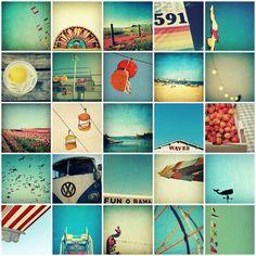 art set, print set, photography set, SALE, beach, summer, mid century, carnival, beach, retro, twenty-five, 8x8 photographs.