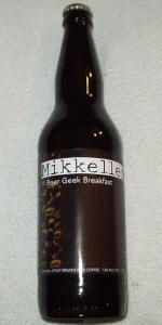 12/18: Mikkeller Beer Geek Breakfast.    ****3/4.    Fantastic stout.  Thick and black with a dark tan head that left a nice lacing down the whole glass.  Strong coffee smell and great bitter dark chocolate after taste.  Very smooth mouth feel.    Beer Advocate score: 92.    Rate Beer score: 100.