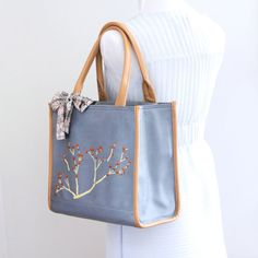 Lightweight tote bag handpainted and monogrammed handbag /document bag / carry all/ only $54. enter coupon code FREESHIP50 for free shippping