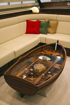 Phenomenal 9 Incredible Boat Coffee Table Ideas For Unique Living Room Decoration This boat coffee table design idea will make the living room more unique and cool. You can use a solid wood design to make a coffee table like this. Resin Furniture, Unique Furniture, Home Decor Furniture, Diy Home Decor, Furniture Design, Table Furniture, Furniture Cleaning, Furniture Removal, Furniture Ideas