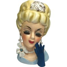 Enesco Lady Head Vase w Neck Bow & Blue Glove