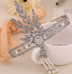 The Great Gatsby Inspired Pearl Austrian Crystal Hair Tiara Crown Bridesmaid Wedding Hair