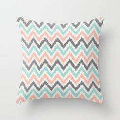 coral throw pillows | Mint Gray Coral Zigzag Pattern Throw Pillow