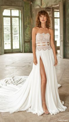 The new Dana Harel wedding dresses have arrived! Take a look at what the latest Dana Harel bridal collection has in store for newly engaged brides. Plus Wedding Dresses, Designer Wedding Dresses, Bridal Dresses, Wedding Gowns, Costume Smoking, Bridal Fashion Week, Designer Wear, Bridal Style, Dress Collection