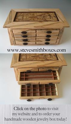 Earring Jewelry Box [Appear to be very well made and the previous buyers seem pleased. Several other designs, too] Woodworking Jewellery Box, Woodworking Box, Custom Woodworking, Woodworking Projects, Earring Jewelry Box, Jewellery Boxes, Gold Jewellery, Jewelry Chest, Jewellery Display
