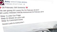 Facebook posts claiming to be giving away 20 luxury RV's are scams -
