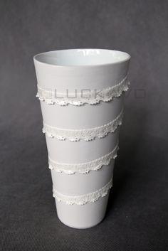 Princess- porcelain decoration by lace Lace Vase, Shot Glass, Planter Pots, Porcelain, Pure Products, Princess, Decoration, Tableware, Decor
