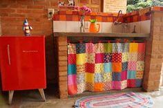 cortinas para pia de cozinha em patchwork