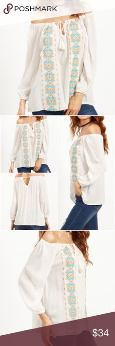 Off the shoulder white peasant blouse. Price firm. White tribal print off the shoulder, tassel tie front blouse, V cut out on the back. Material-Rayon. See size description for exact measurements. (#1450) Boutique Tops Blouses