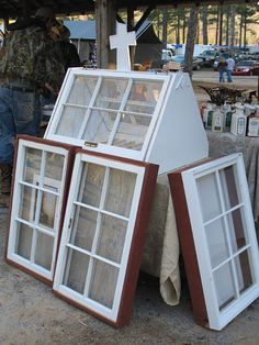 Great ideas for old windows...Top one is a greenhouse!!