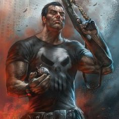 The Punisher by Lucio Parrillo - ZdoRodZ Punisher Comics, Punisher Marvel, Marvel Comics Art, Marvel Heroes, Daredevil, Comic Book Characters, Marvel Characters, Comic Books Art, Comic Art