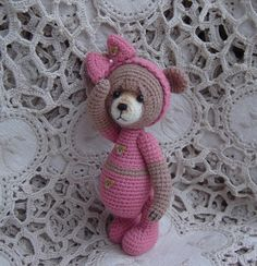 Artist teddy bear Thread crochet OOAK by crocheteddybears on Etsy