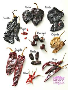 mexican cooking MEXICAN DRIED PEPPERS Dried peppers are a key ingredient in Mexican cuisine. Many traditional celebration's meals wouldn't be the same without them, dishes like the Traditional Mole or the Wedding Stew have a sauce base Authentic Mexican Recipes, Mexican Salsa Recipes, Mexican Chili, Mexican Kitchens, Mexican Cooking, Mexican Dishes, Mexican Drinks, Mexican Desserts, Chili Mexicano