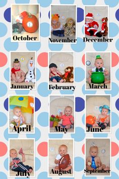 Monthly themed one year pictures. Cameron is my little model!                                                                                                                                                                                 More