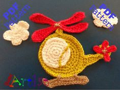 """Helicopter crochet Applique Pattern ~ measures 3""""H x 4""""W but will vary depending on yarn and hook size ~ PURCHASED pattern - CROCHET"""