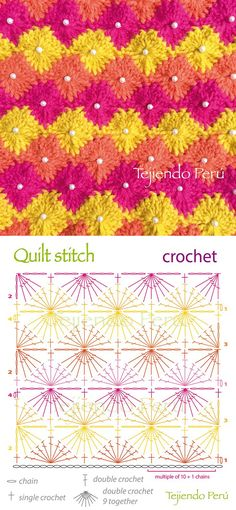 By: Tejiendo Peru                               For instructions, click here:    http://ergahandmade.blogspot.gr/2015/06/crochet-stitches....