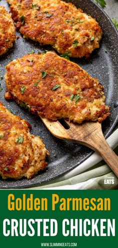 Golden Parmesan Crusted Chicken - tender chicken cutlets coated in parmesan, breadcrumbs and seasoned and pan-fried until perfectly golden.#slimmingworld #weightwatchers #chicken #parmesan Easy Chicken Dinner Recipes, Chicken Tender Recipes, Fried Chicken Recipes, Recipe Chicken, Pan Fried Chicken Tenders, Fried Chicken Parmesan, Breaded Chicken, Healthy Eating Recipes, Cooking Recipes