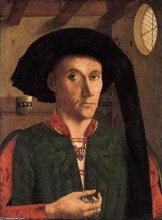 'Portrait of Edward Grimston', Oil by Petrus Christus (1410-1475, Belgium)