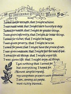 Confederate soldiers prayer
