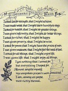 Confederate soldiers prayer