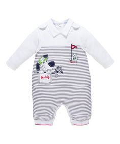 Another great find on #zulily! Gray Stripe Doggie Bodysuit & Overalls #zulilyfinds