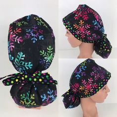 Christmas Snowflakes Ponytail Hat – Oksana's Creations Surgical Caps, Scrub Hats, Drip Dry, Christmas Snowflakes, How To Make Bows, Different Styles, Making Out, Ponytail, Scrubs