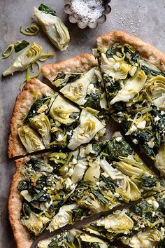 Spinach Artichoke Pizza with feta cheese