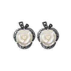 Antique 925 Sterling Silver Marcasite White Shell Rose Flower Earrings