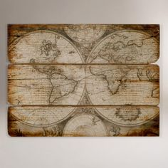 We saw this in the store & agreed it would be perfect for Jered's office - Wood Wall Map | World Market