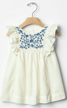 White Ruffle Top with Blue Floral Embroidery