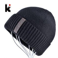 799393674ac Winter Beanies Solid Color Hat men Knitted Warm Soft Beanie Double layer  plus thick velvet Cap bonnet Gorro Caps For Men Women