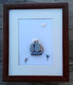 Pebble art Family3 Family3 gift Stone art home decor