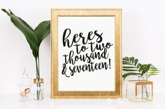Here's to 2017! New Year, Instant Download, Wall Decor, Home and Living, Printable Art, Typography, Celebrate, Holiday, New Year, Goals, by thewhitecanvases on Etsy
