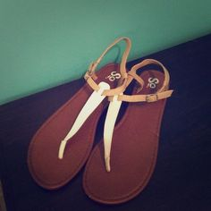 SO sandals in brown with white strap SO sandals in brown with white strap SO Shoes Sandals