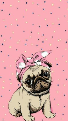 Cute cartoon pug dog which would look great as an adorable phone wallpaper Pug Wallpaper, Cute Wallpaper Backgrounds, Wallpaper Iphone Cute, Tumblr Wallpaper, Disney Wallpaper, Screen Wallpaper, Iphone Backgrounds, Cartoon Mignon, Pug Art