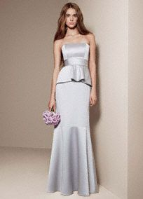 White by Vera Wang Satin and Matte Crepe Peplum Dress with Satin Sash, Style VW360134 in Sterling. #davidsbridal #grayweddings #bridesmaids