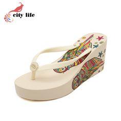 Mulher marca ocasional Flip flop, Muffin fundo com coruja praia Slides Eva cunhas confortáveis sandálias desconto em Sandálias das senhoras de Sapatos no AliExpress.com | Alibaba Group