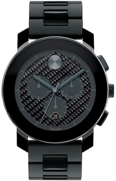 Movado Bold - Large Movado BOLD chronograph, 43.5 mm black TR90 composite material and stainless steel case, black carbon fiber dial with black subdials and gray accents, black TR90, black polyurethane and stainless steel link bracelet with deployment clasp, K1 crystal, 1/1 Swiss quartz chronograph movement, water resistant to 30 meters.