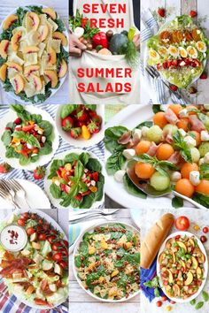 Seven Easy Fresh Summer Salads Seven big, bold, colorful, fresh summer salads to make for a casual family dinner, your next cookout, or a quiet afternoon lunch. Amazing Recipes, Easy Recipes, Dinner Recipes, Easy Meals, Healthy Recipes, Fruit Recipes, Salad Recipes, Recipe Share, Side Salad