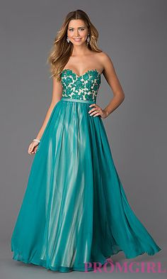 Floor Length Sweetheart Prom Dress by Dave and Johnny at PromGirl.com
