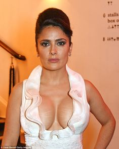 Eye-popping: Salma Hayek 'showing more breast than a 10lb turkey'...