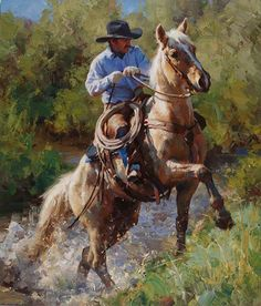 The cowboy way Real Cowboys, Cowboys And Indians, Cowboy Horse, Cowboy Art, Cowboy Pictures, West Art, Ecole Art, Horse Drawings, Le Far West