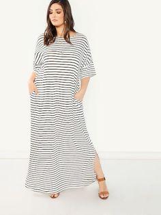 069793a28fe Shop Plus Pocket Side Slit Hem Striped Dress online. SheIn offers Plus  Pocket Side Slit