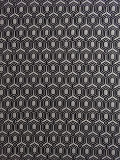 "Fabric Mart :: Designer Fabrics :: Italian Collection :: MJB8044 Geometric Threadwork Print Stretch Silk Crepe White, Light Gray, Black 45"" Wide"