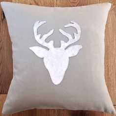 Lovely Handmade Applique Stag Head Cushion Cover Size 16  Taupe & Pewter