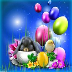 Pinnd by sherry decker Easter Art, Hoppy Easter, Easter Crafts, Easter Bunny, Easter Eggs, Easter Wallpaper, Halloween Wallpaper Iphone, Holiday Wallpaper, Stitch Games