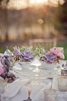 succulent floral arrangements tea cups