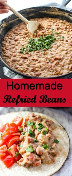 These Homemade Refried Beans are so flavorful and they couldn't be easier to make.  I promise, once you make them you will never want to go back to canned again.