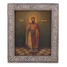 Lot 0021 Russian Art Nouveau style icon of Saint Tzar Konstantin Starting price: 2000€ - Baltic Auction Group